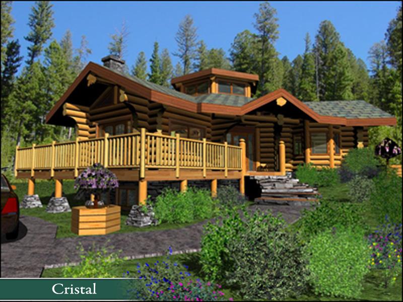 Chalet En Bois Rond Quebec A Vendre : Big Log Cabin House with Land